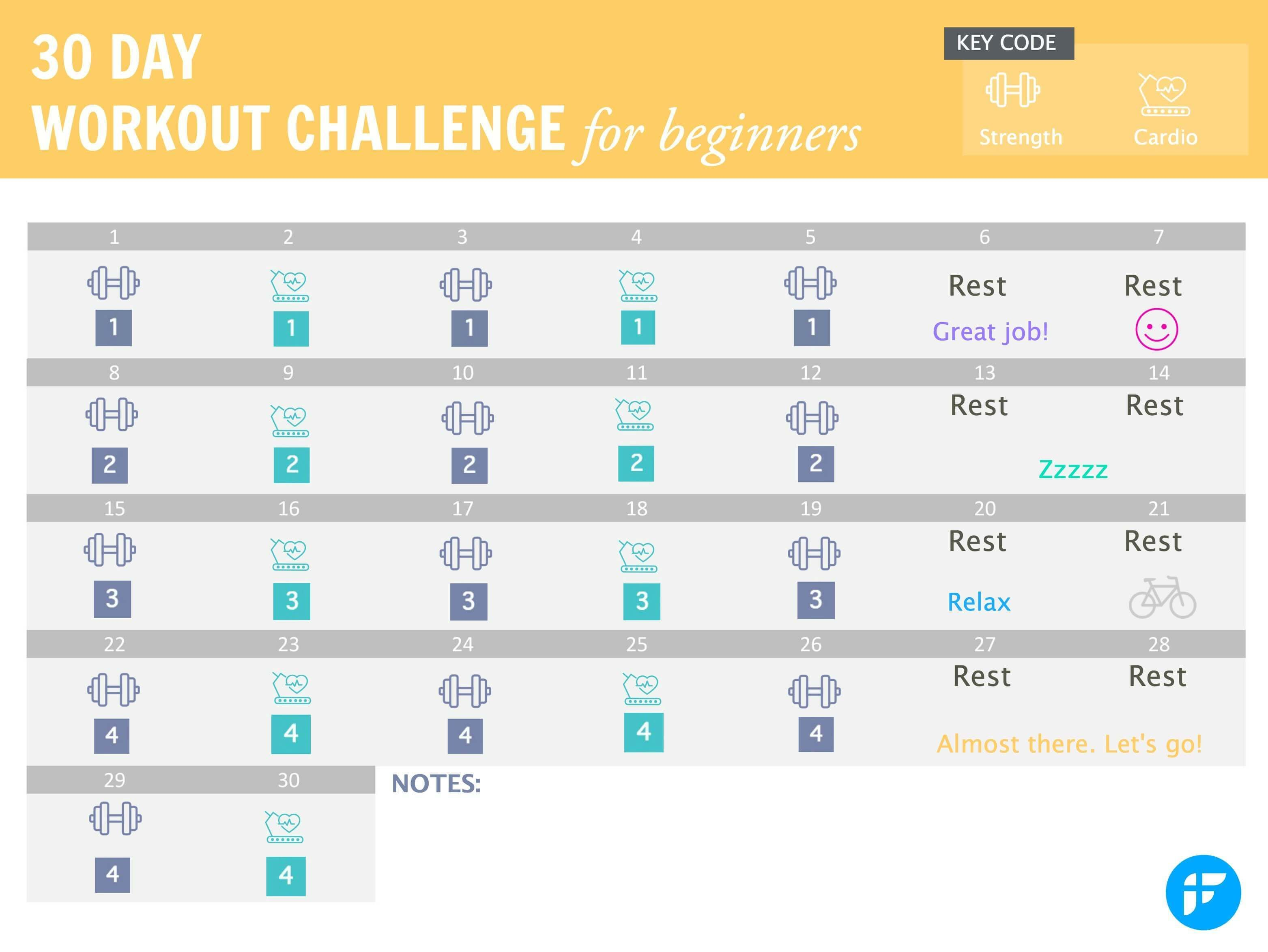 Printable 30 Day Workout Calendar