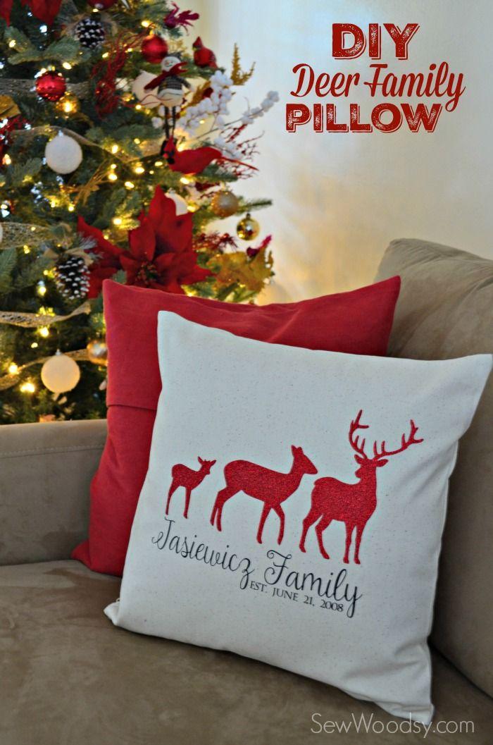 DIY Deer Family Pillow Cover Using Cricut Explore Amp Iron