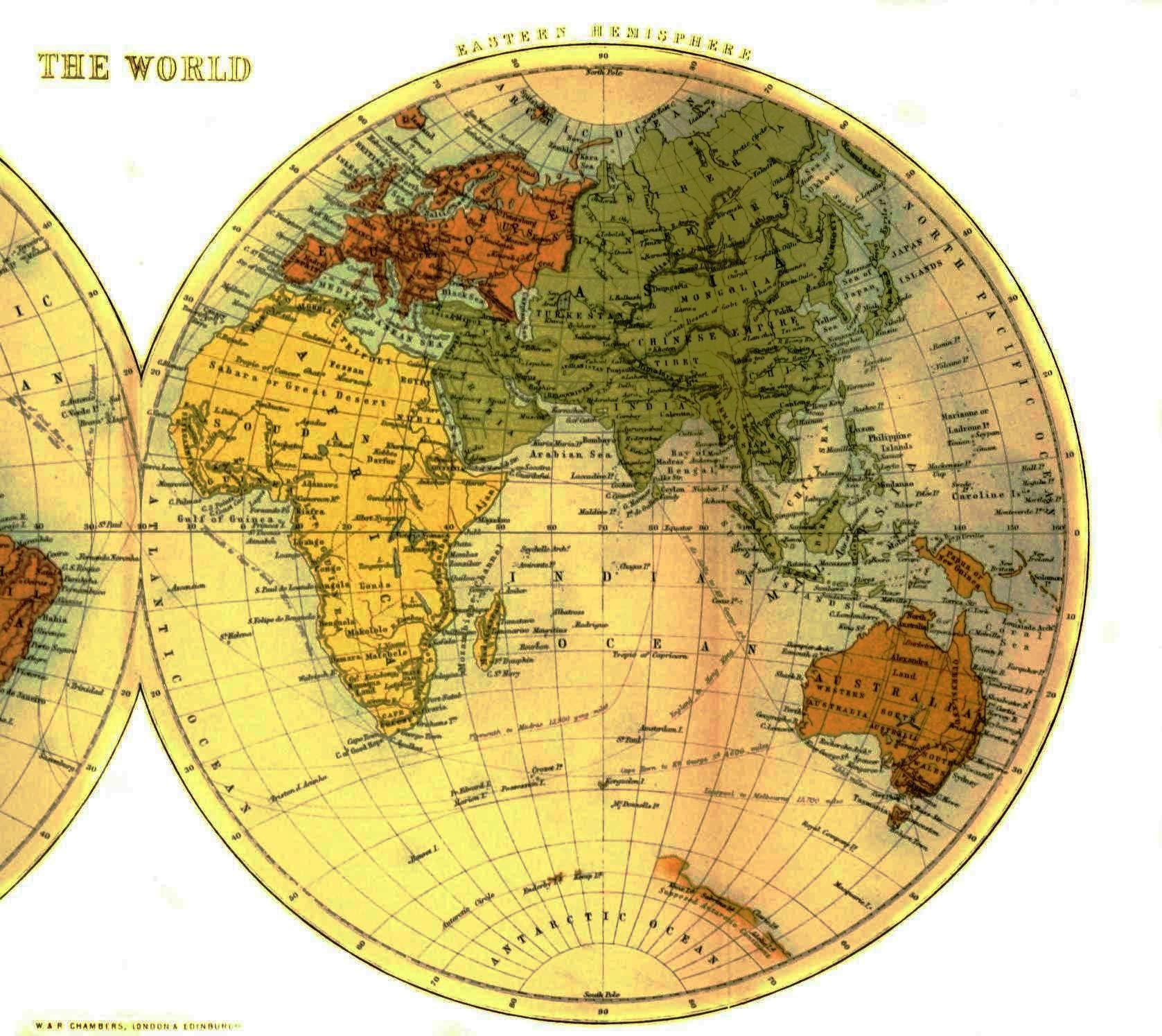 Geopolitical Map World Half Eastern Hemisphere