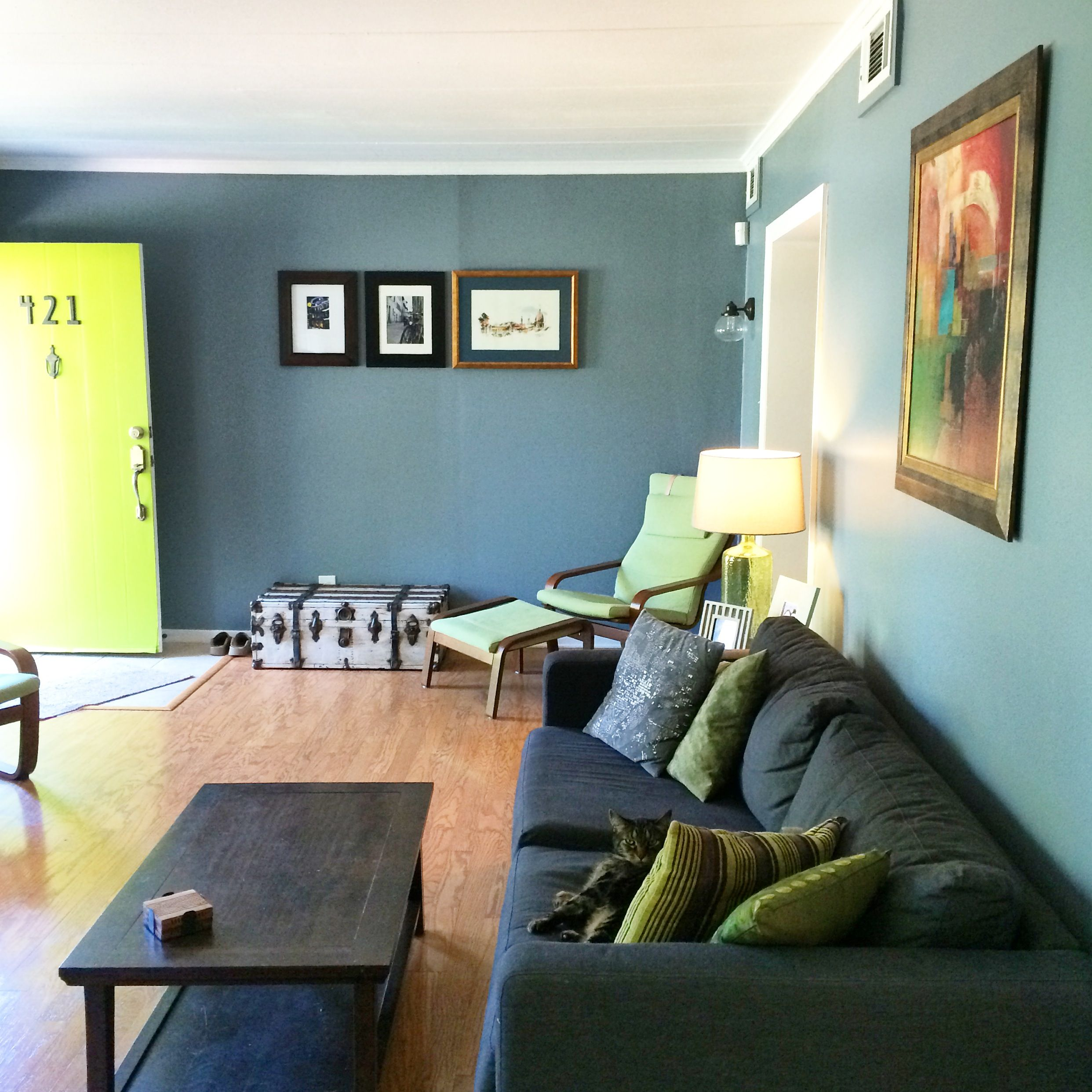 Apogee interiors though you may have to make some concessions when it comes to furnish. Blue living room + green door Behr Paint, 740F-4 Dark ...