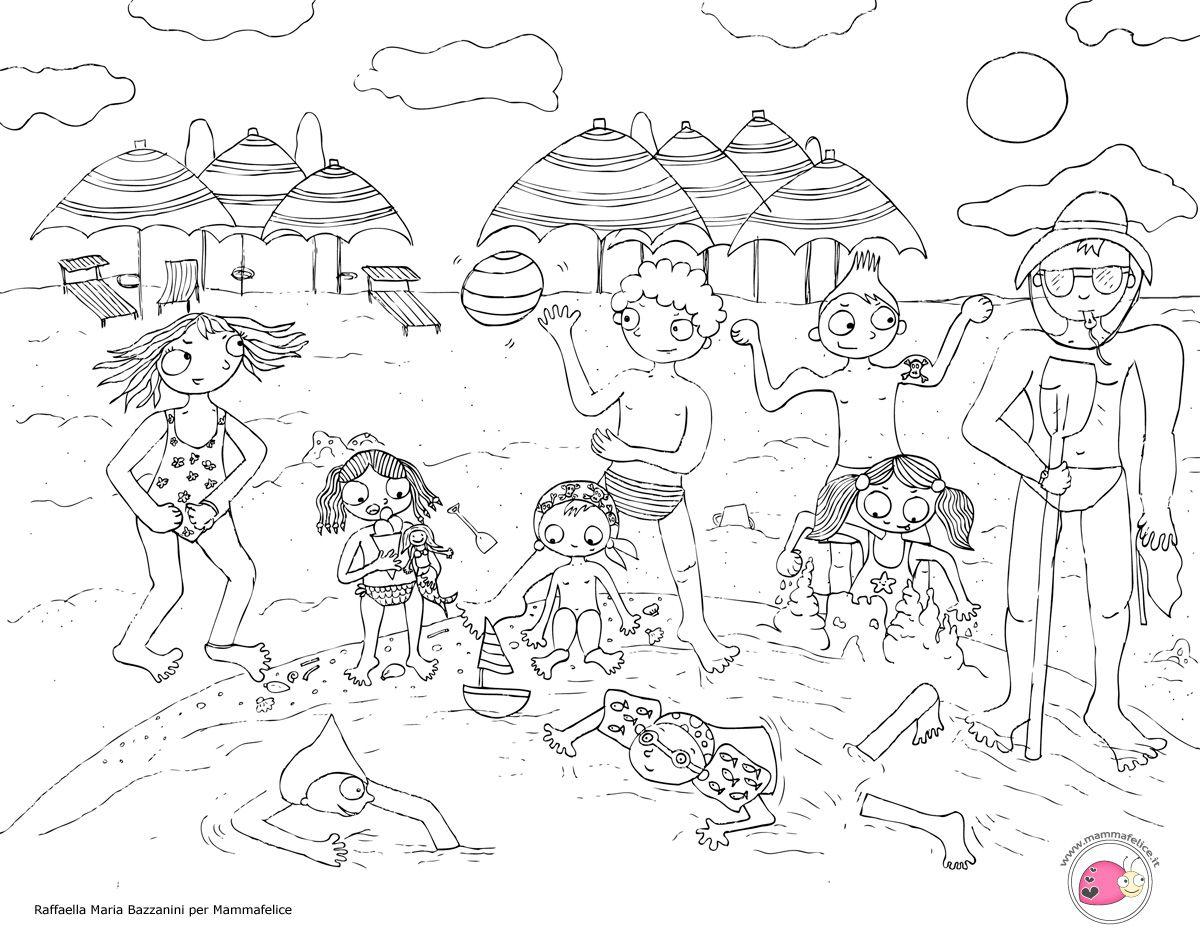 Disegno Per Bambini Da Colorare Gratis Bambini Vacanza Mare