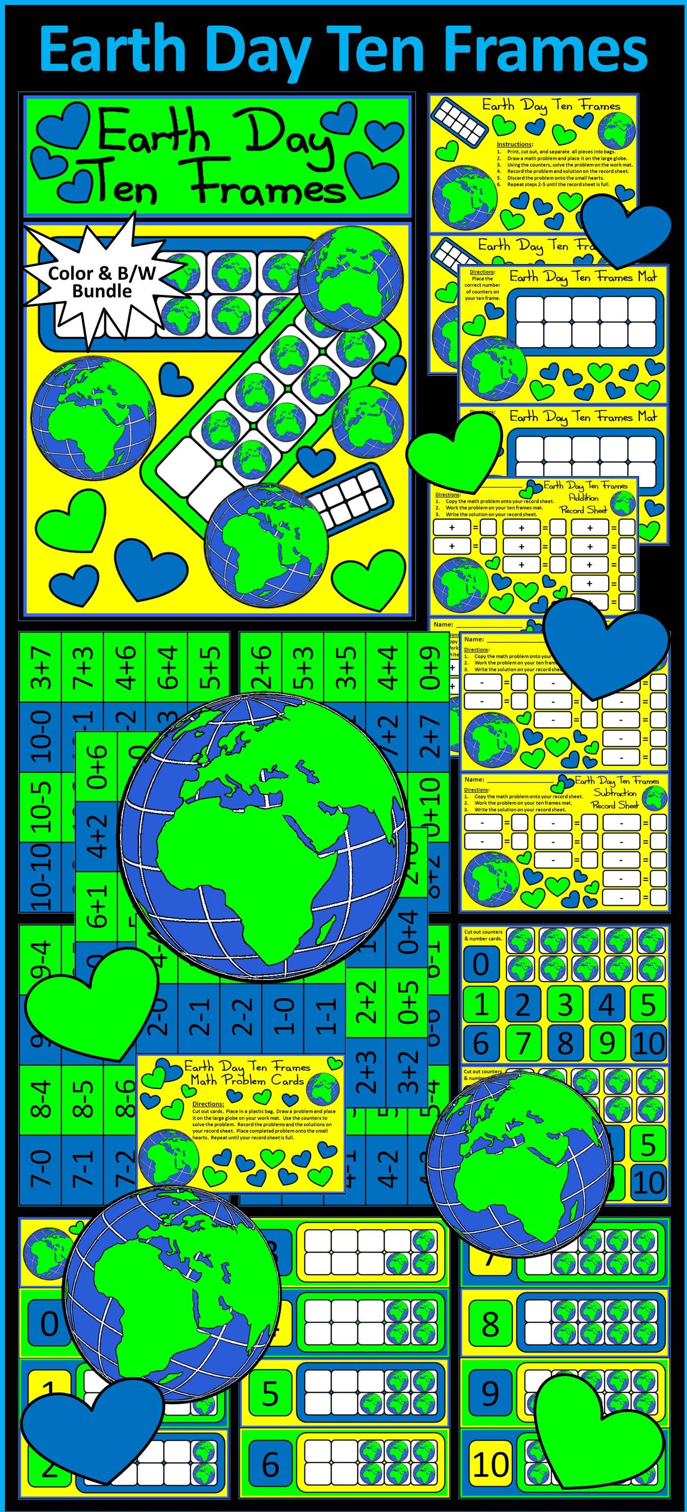 Earth Day Ten Frames Spring Math Center Activity Packet