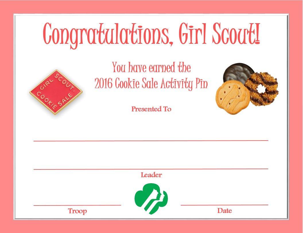 Cookie Sale Activity Pin Certificate