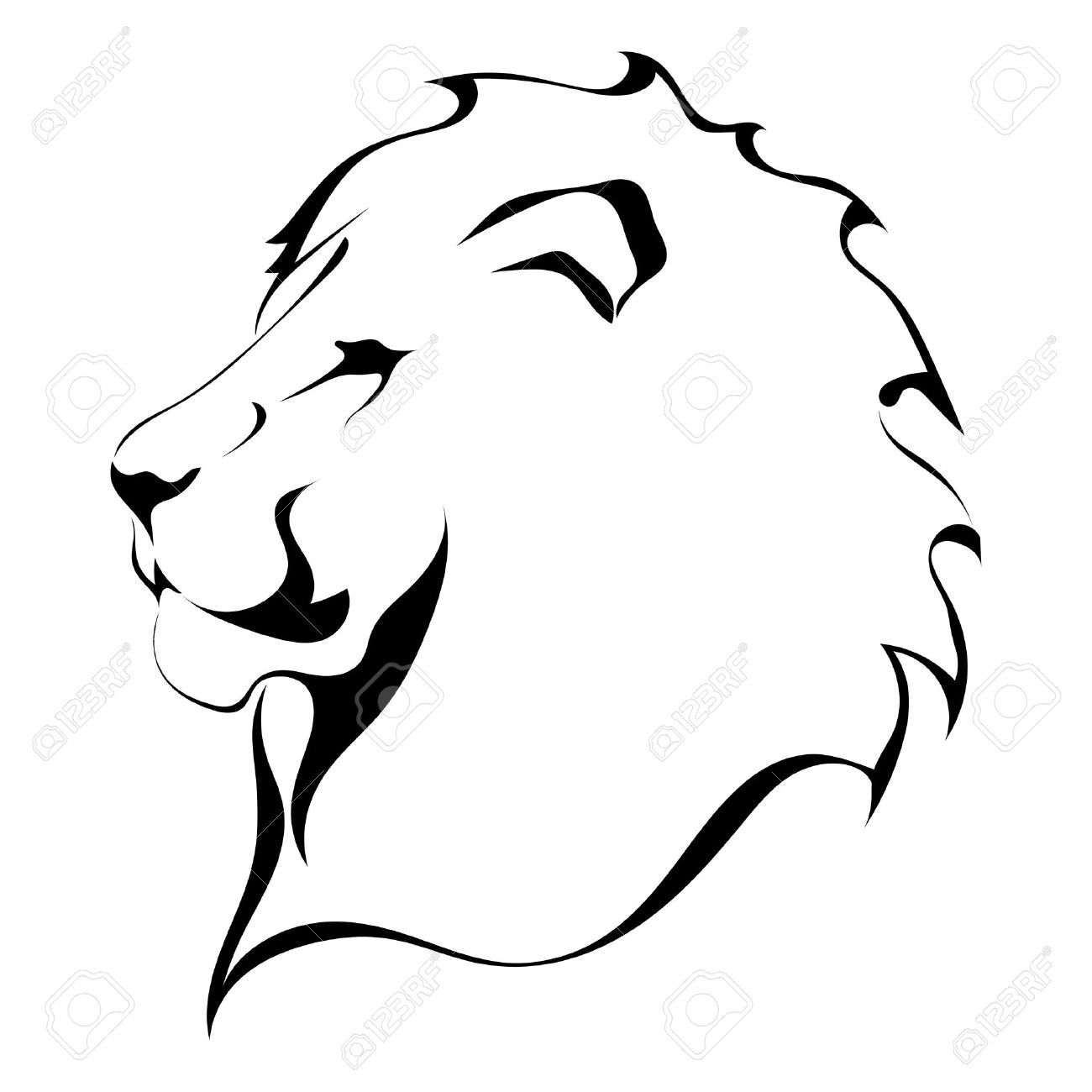 Lion Head On A White Background Tattoo Royalty Free