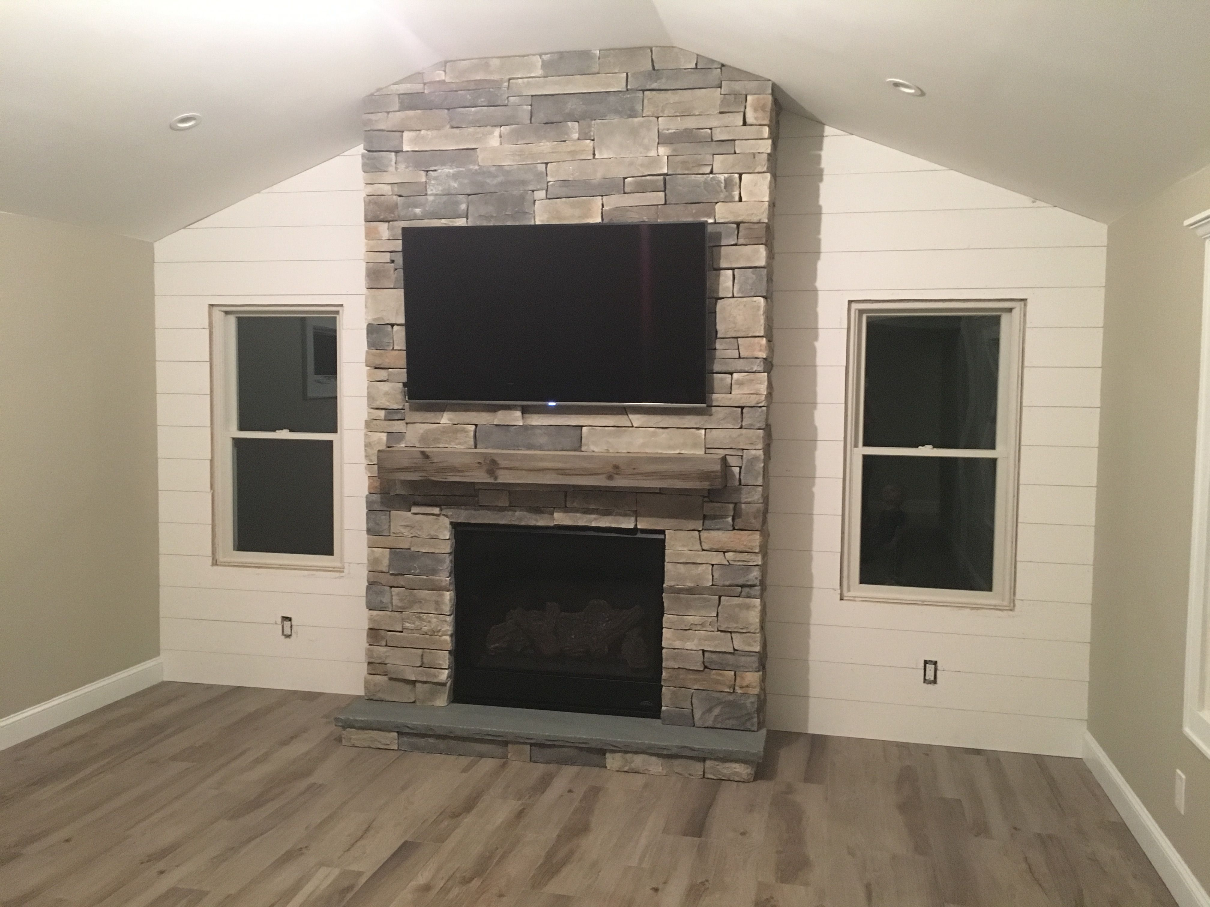 Fireplace With Magrahearth Mantel And Shiplap Wall