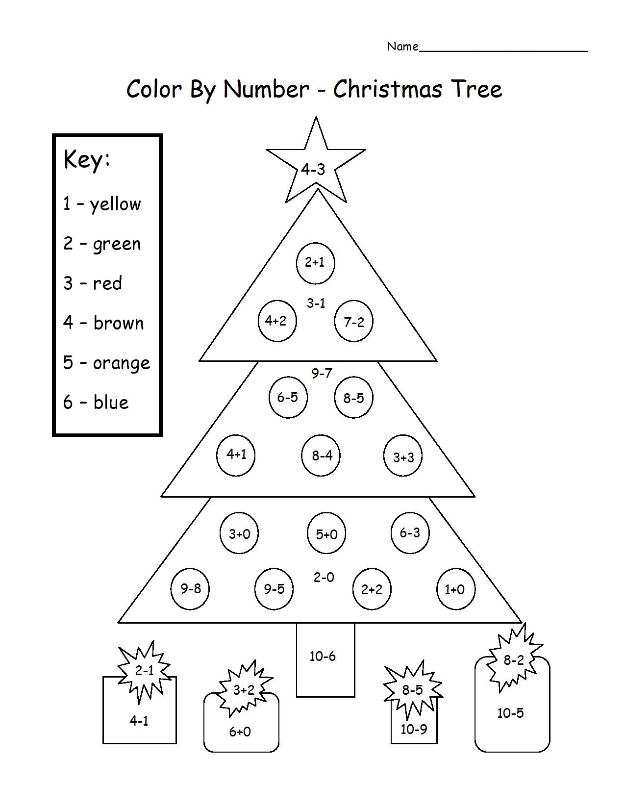Christmas Tree Color By Number Add Amp Subtract Printable