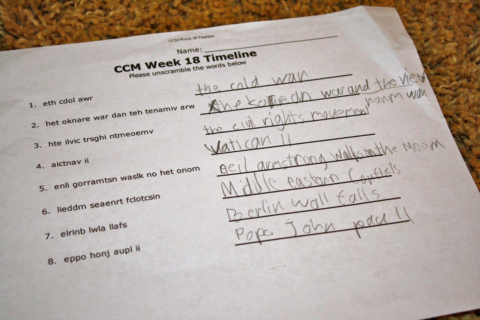 Ccm Timeline Activity Timeline Word Scramble Catholic Missionary Family