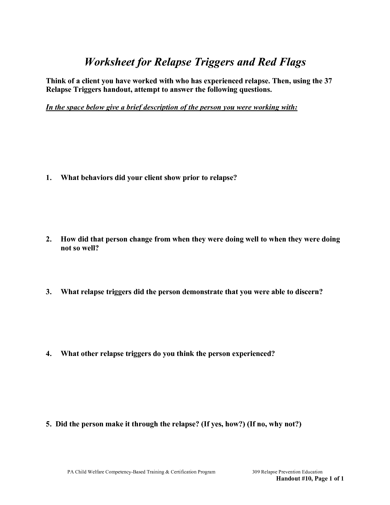Free Worksheets For Recovery Relapse Prevention Addiction