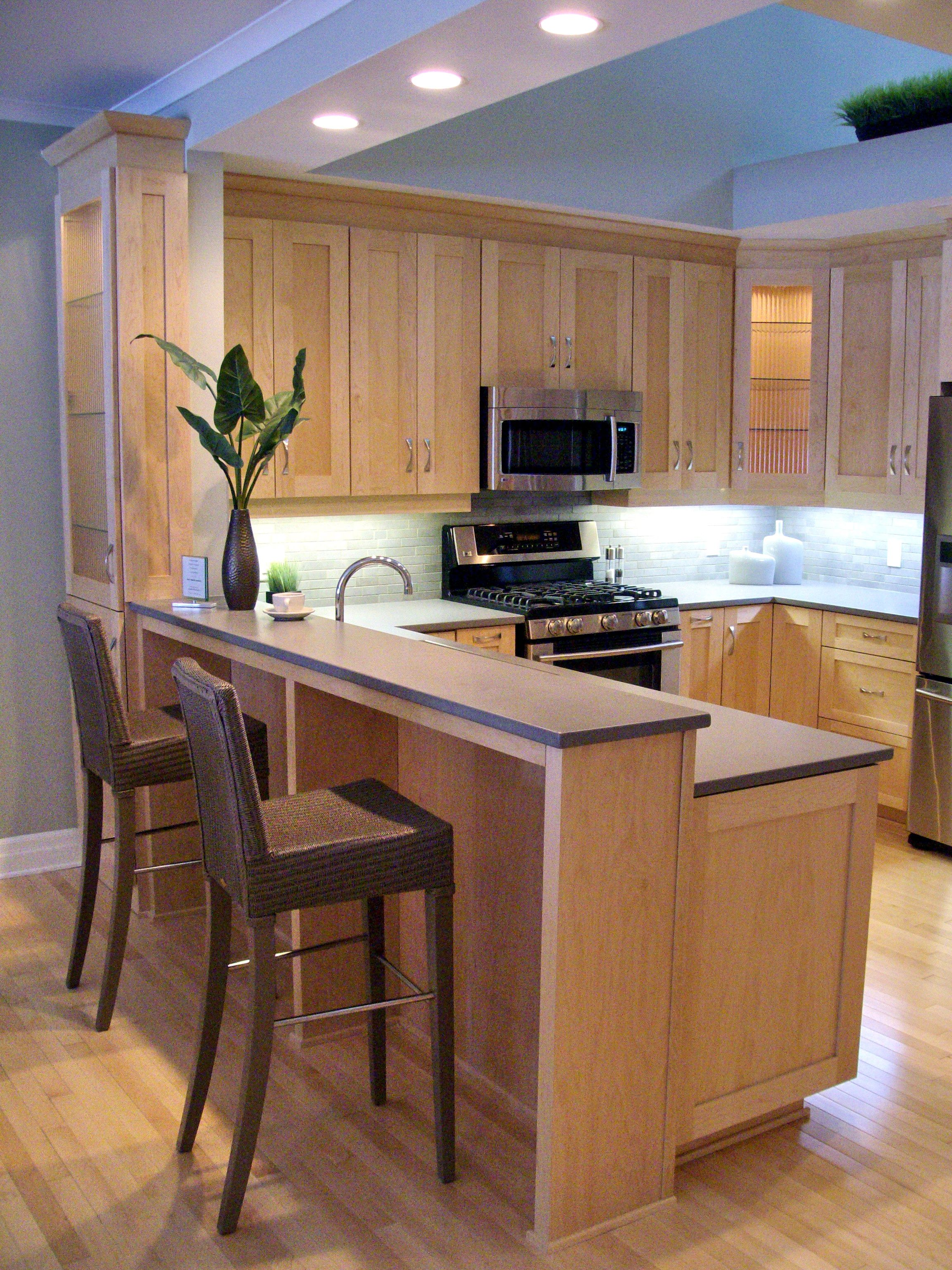 Natural Maple Shaker Cabinets, with Grey Silestone Quartz ... on What Color Countertops Go With Maple Cabinets  id=52674