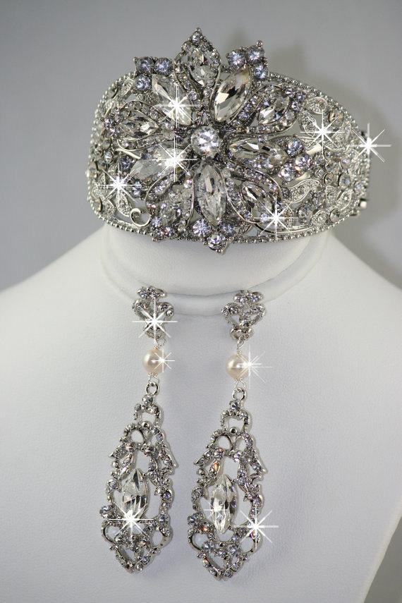 Markiza Wedding Chandelier Bridal Earrings And Cuff Bracelet Set Via Etsy
