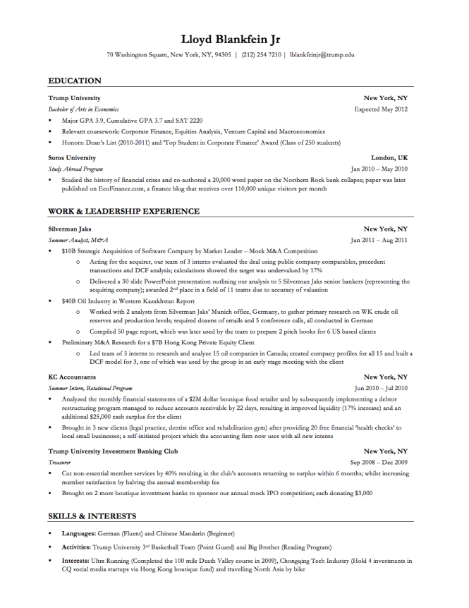 investment banking resume template resume sample - Investment Banking Resume Template 2