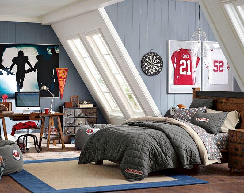 Teenage Guys Bedroom Ideas | Football Inspired | PBteen ... on Teenage Room Colors For Guys  id=85001