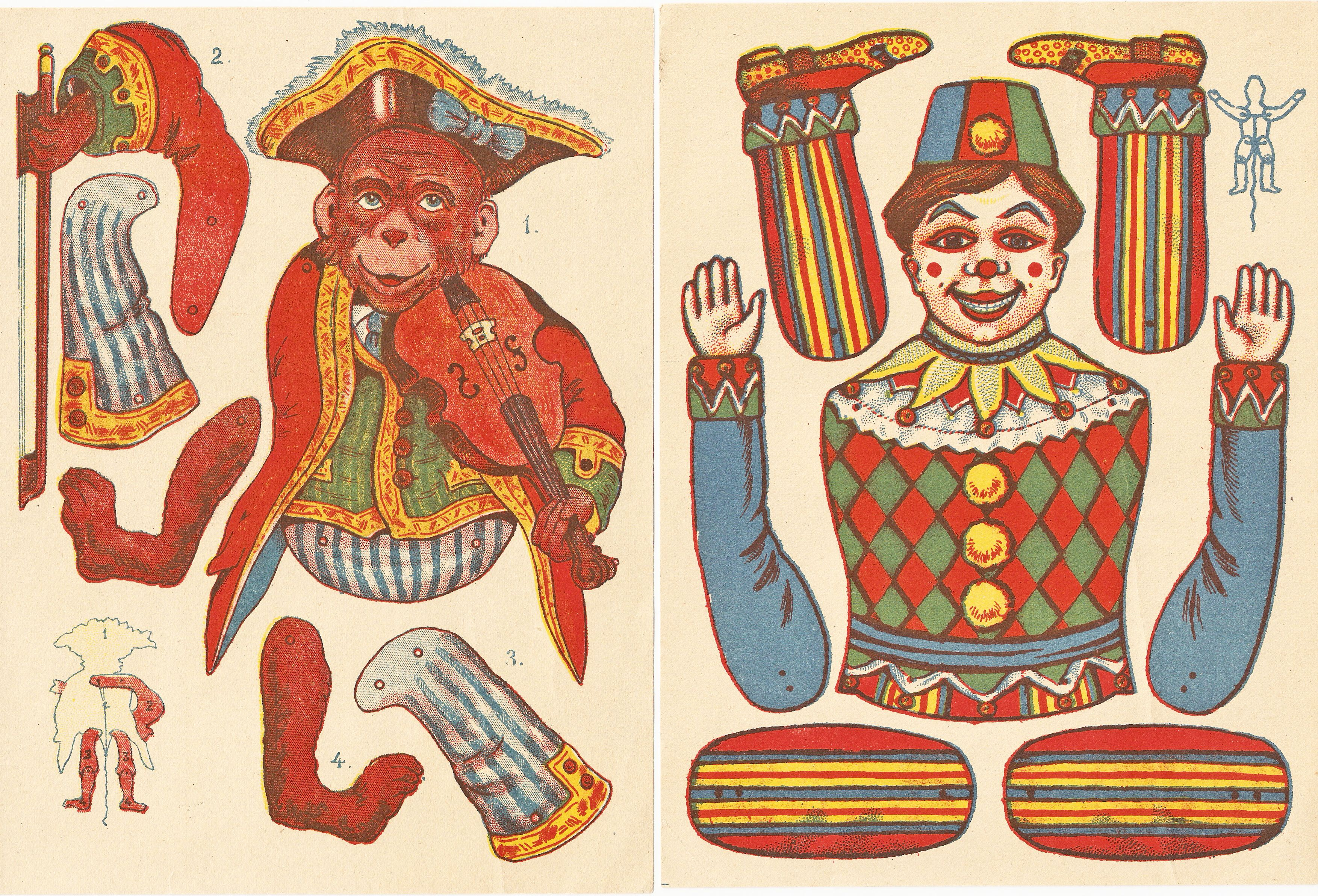 Circus Paper Doll Monkey And Clown Patterns Circa S