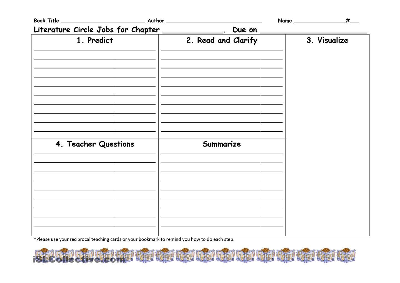Reciprocal Teaching Literature Circle Worksheet