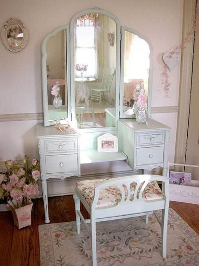 Simple White Antique Vanity Table Design With Reclining Stool And Beige Rug Under The Chair Along