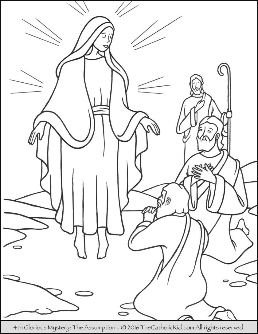 the 4th glorious mystery coloring page – the assumption
