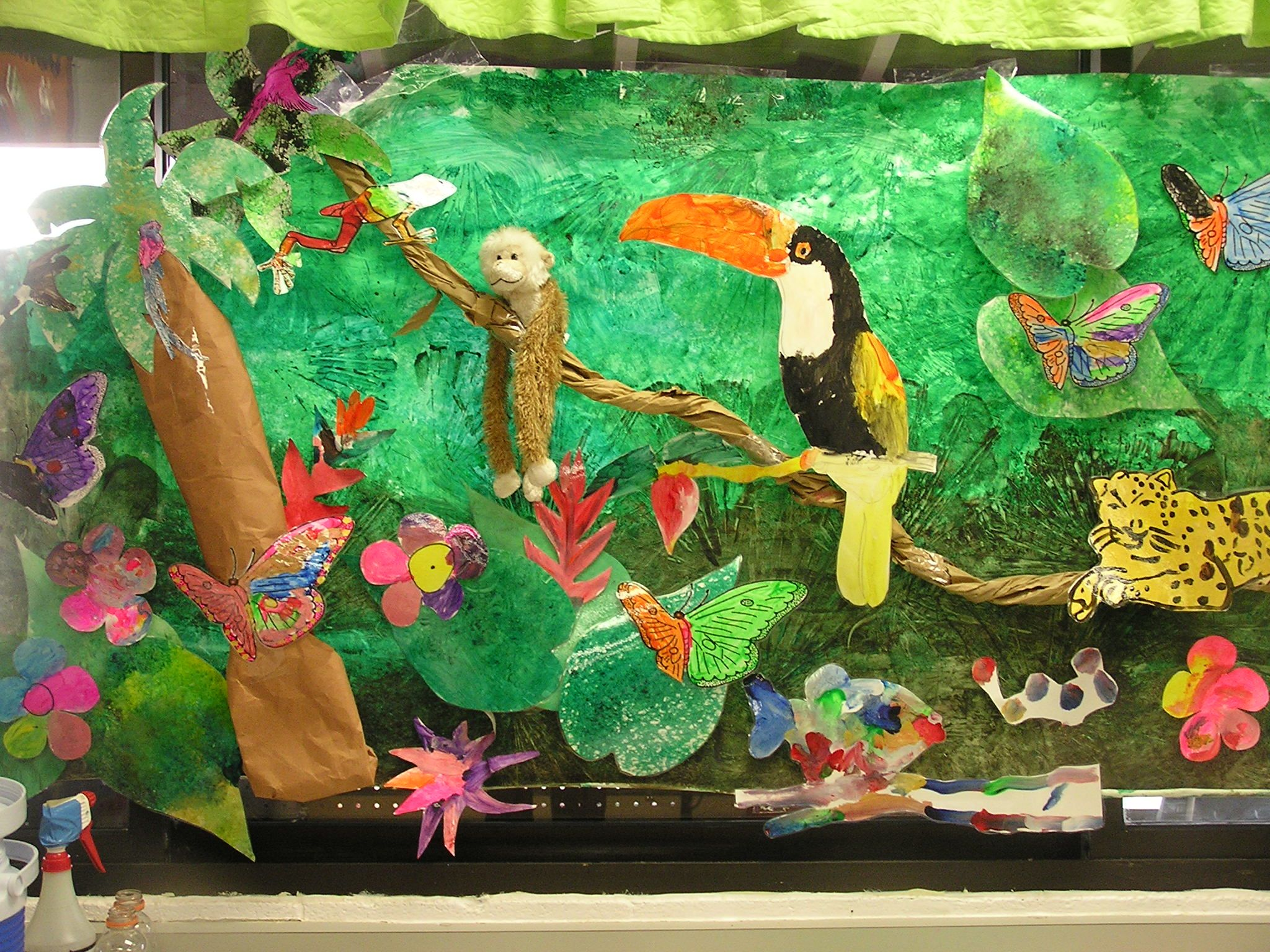 Rain Forest Week In Prek My Kids Used Real Palm Fronds To