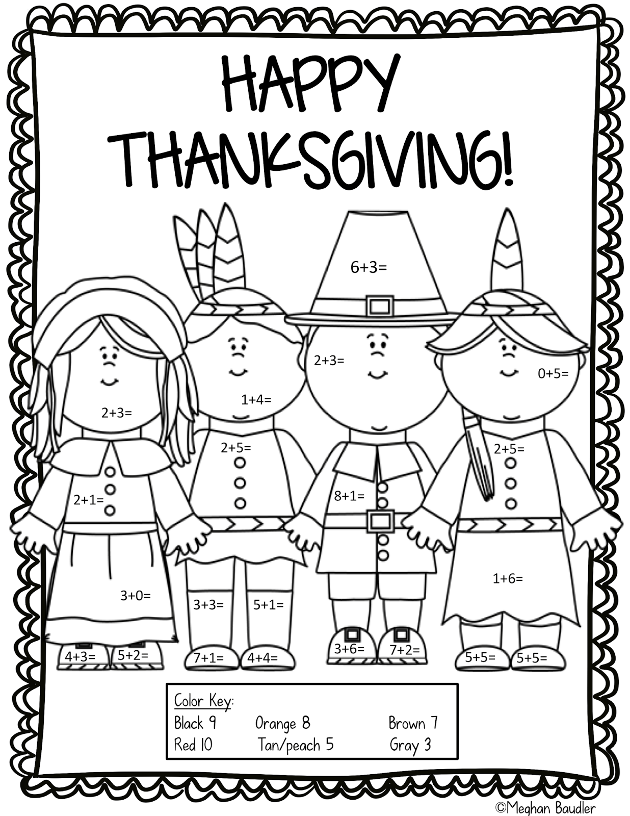 Color By Code Thanksgiving Pack Addition And Subtraction