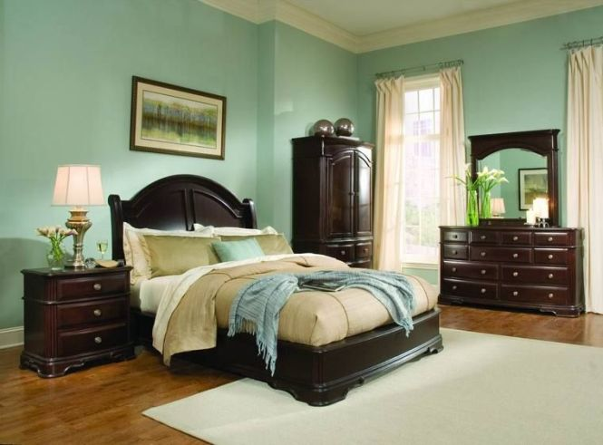 Light Green Bedroom Ideas With Dark Wood Furniture