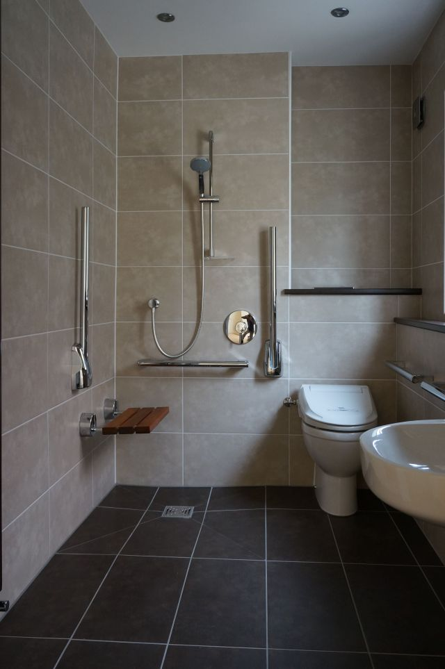 Wet room shower with disabled access