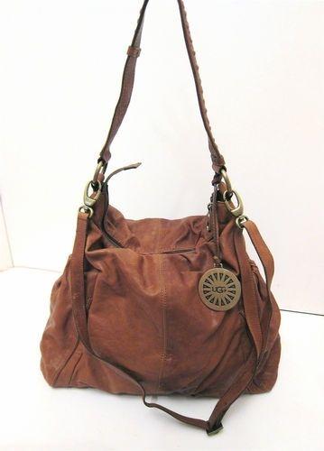 Xl Ugg Australia Soft Brown Leather Slouch Hobo Shoulder
