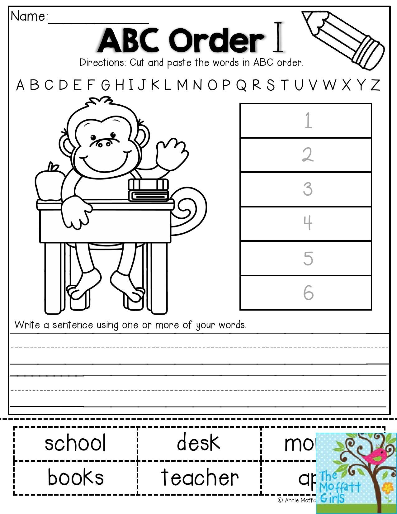 Abc Order 1st Grade Worksheet