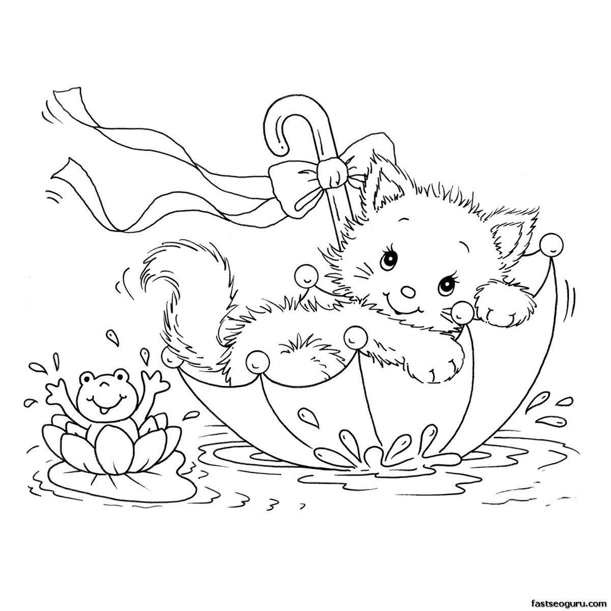 Printabel Coloring Pages Kitty Cat And Frog In Umbrella
