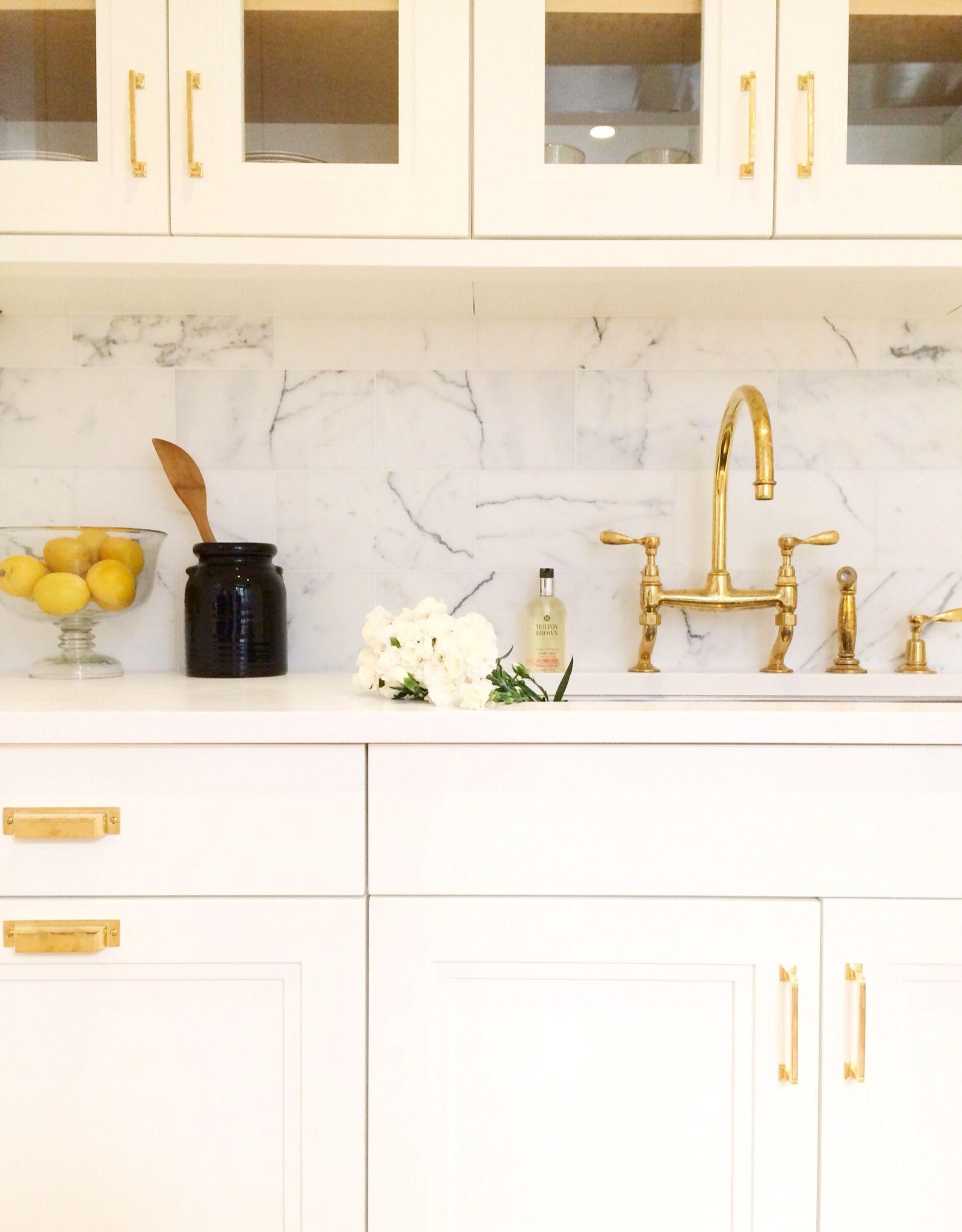 brass hardware in a white kitchen by alyssa kapito interiors follow on instagram http on kitchen cabinets gold hardware id=63959