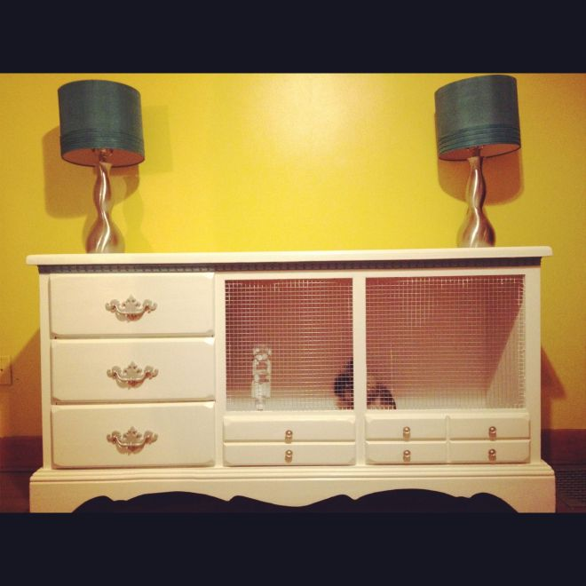Bunny cage from an old dresser excellent idea too small