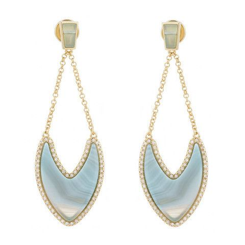 Marcia Moran Blue Striped Agate Earrings Piajeh Boutique