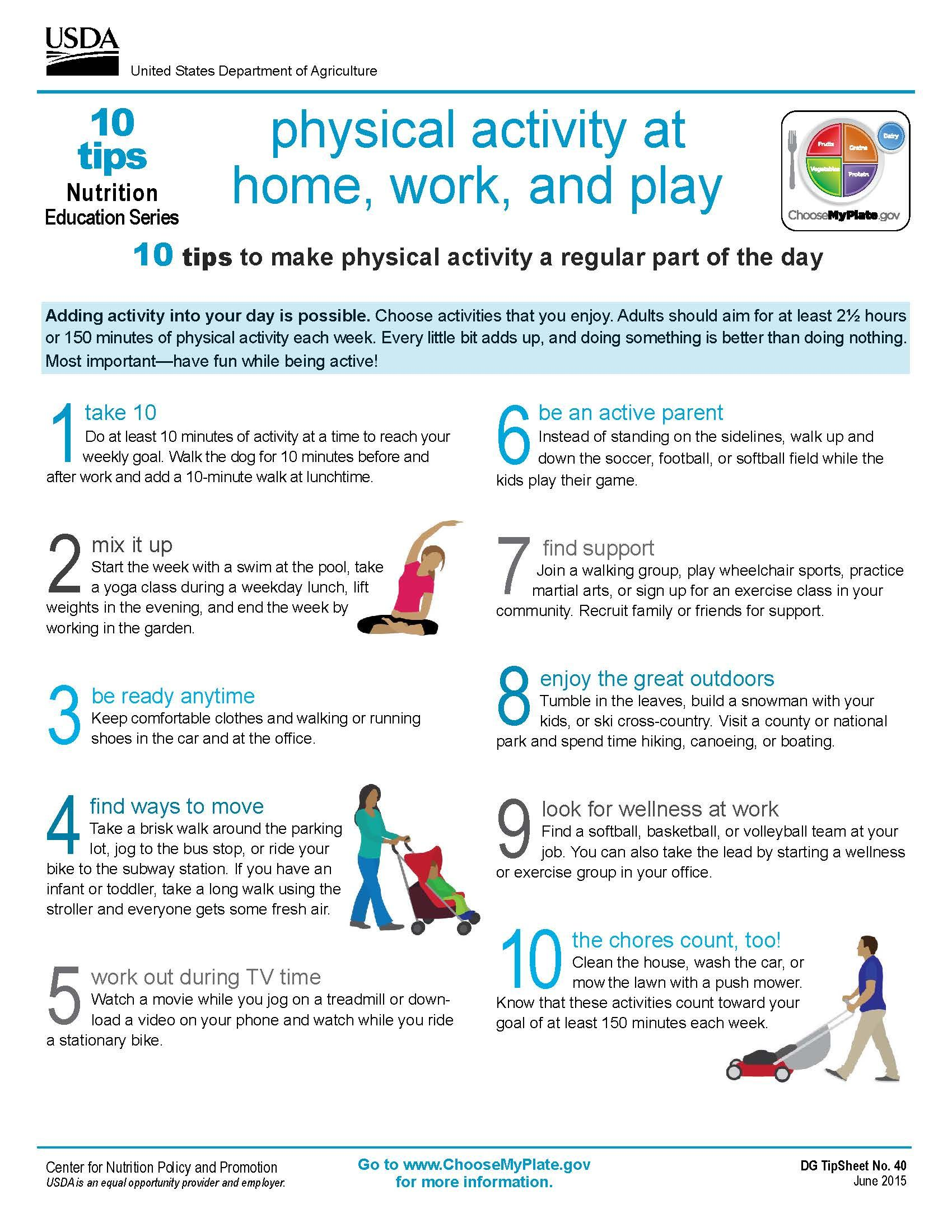 10 Tips Physical Activity At Home Work And Play