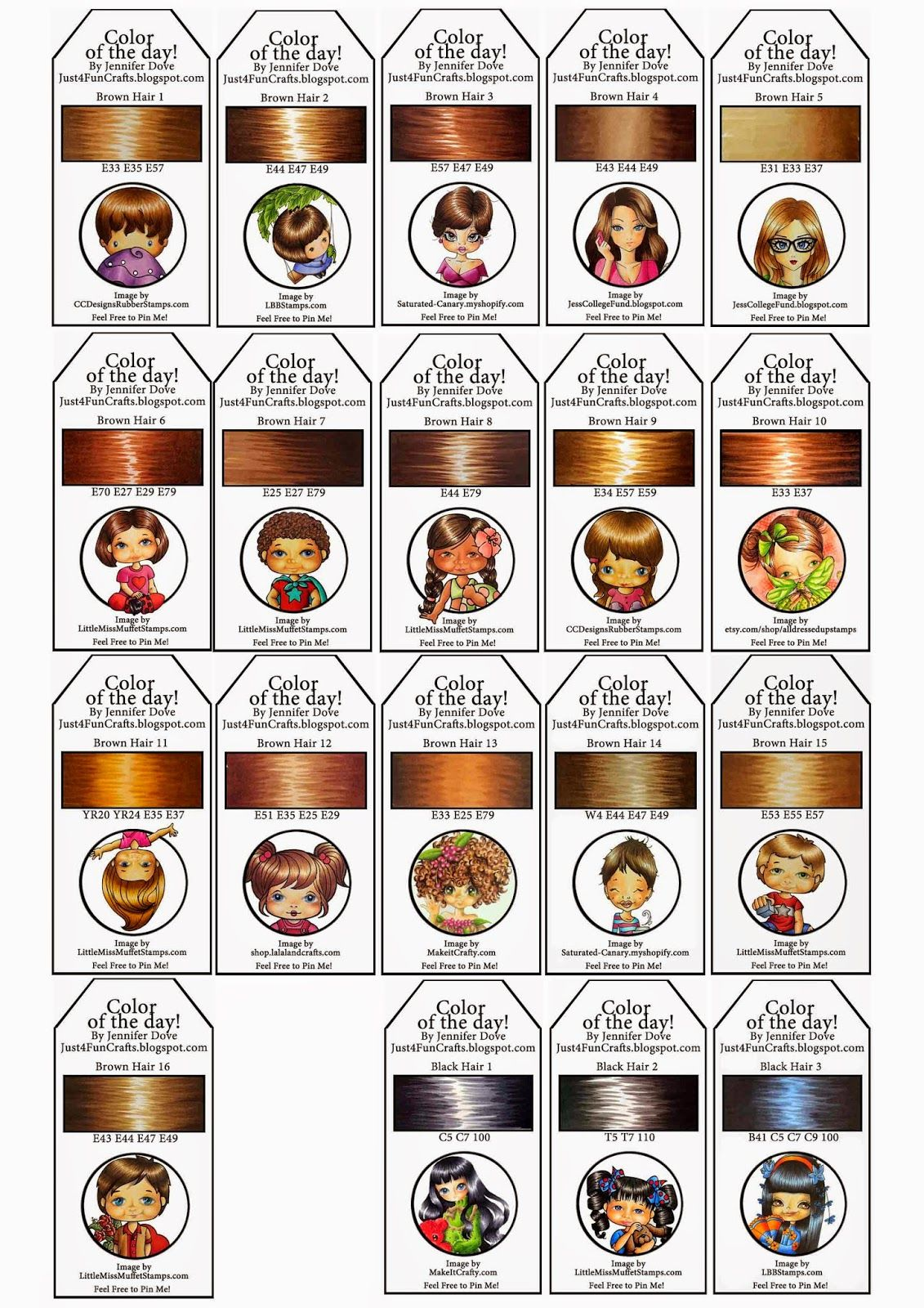 Copic Color Of The Day Jennifer Dove Printable Hair Brown Amp Black