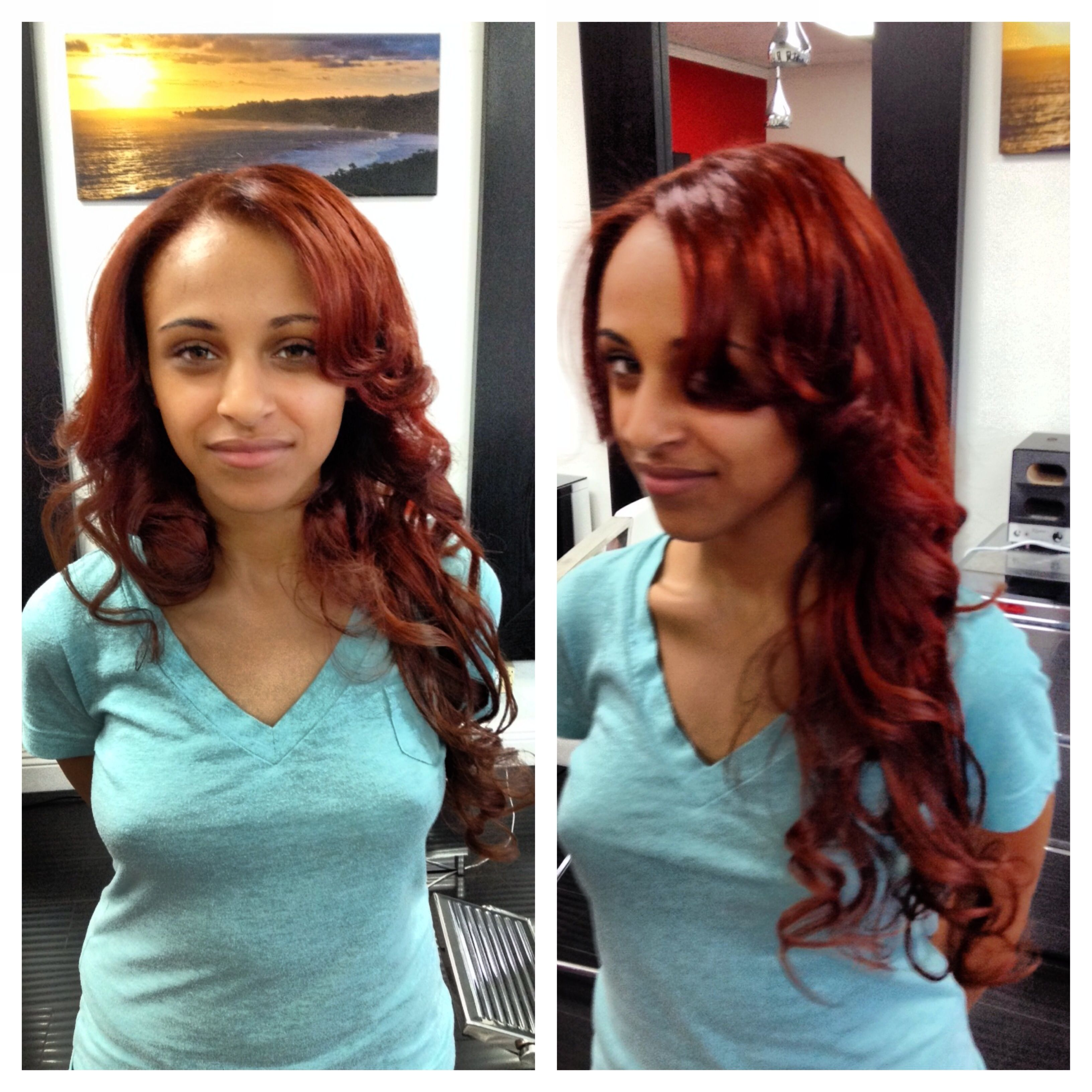 Fiery red head Color & extensions by Crystal Belle