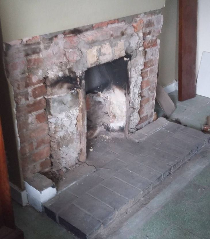 Thursday morning DIY Take the s brick fireplace out