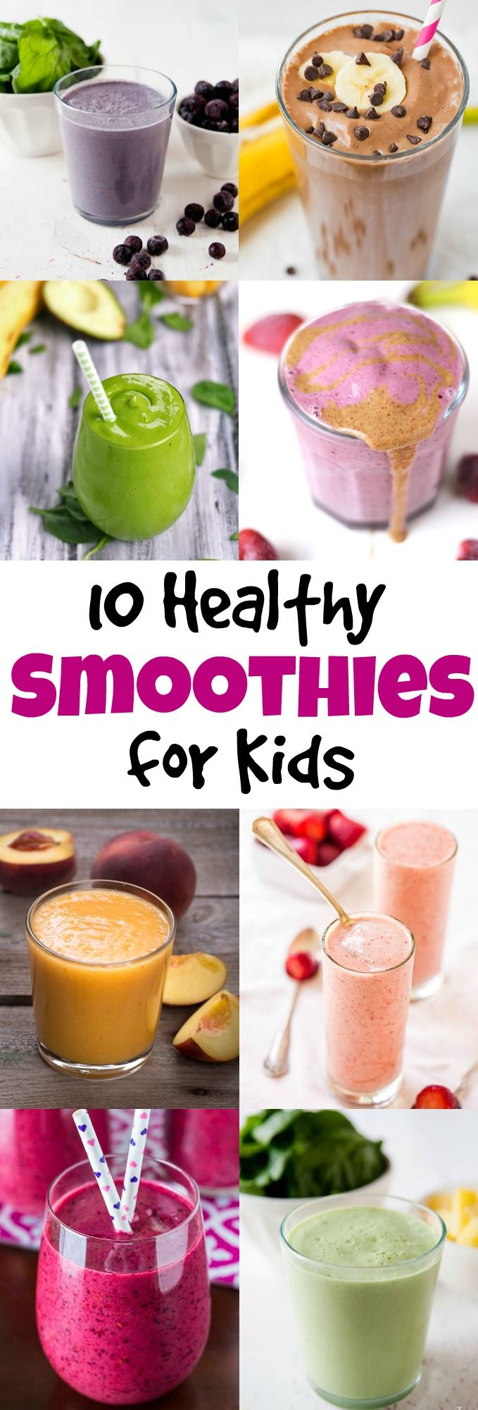 What better way to get more fruits and veggies in your kids' diet than a refreshing smoothie! Your kids will love these smoothies