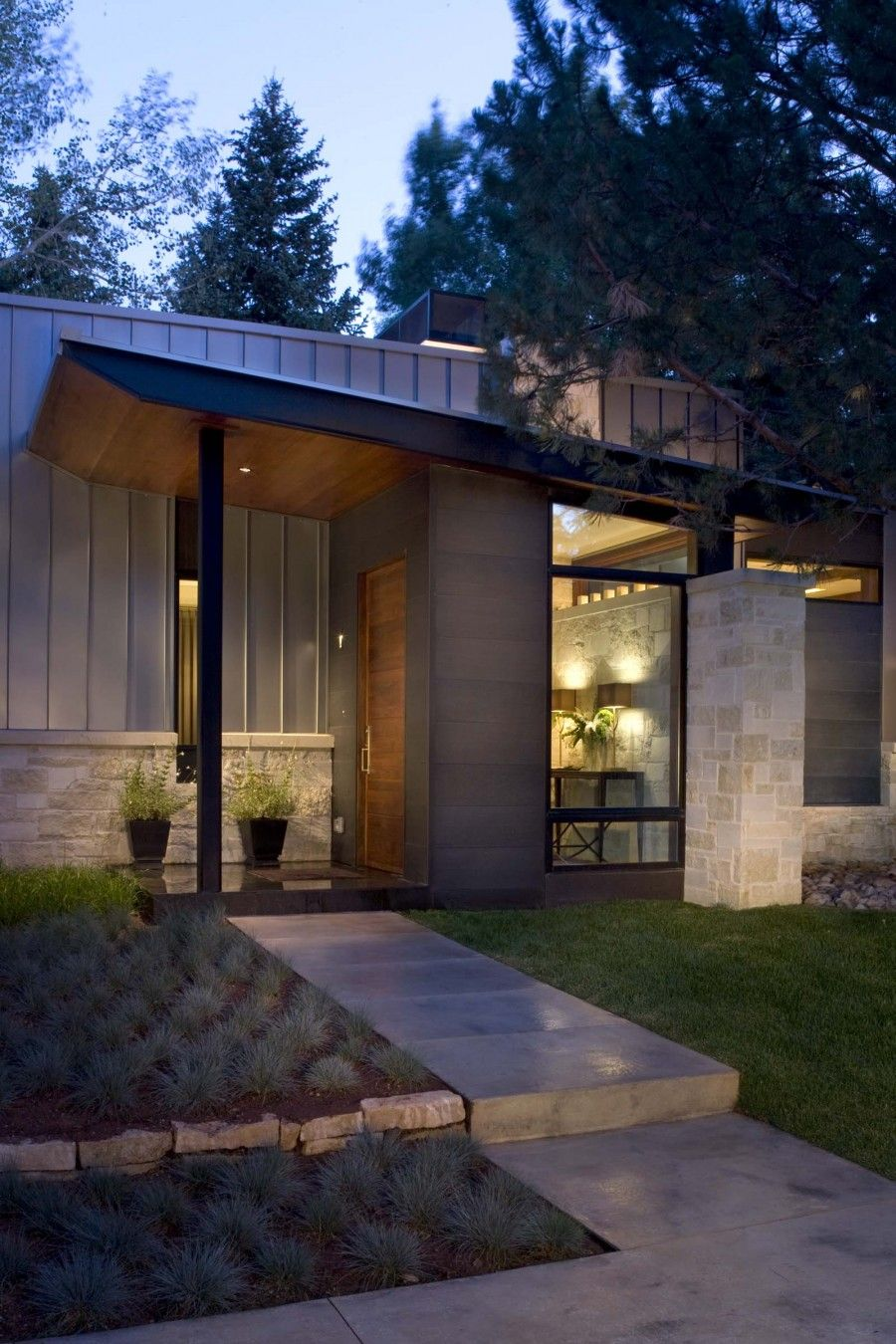 Contemporary Ranch House Remodel Front Entrance Ideas With