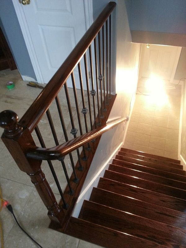 Red Oak Railing And Stairs Stained Red Mahogany Www | Mahogany Handrails For Stairs