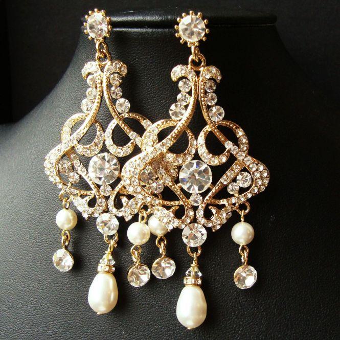 Gold Want In Silver Chandelier Bridal Wedding Earrings Statement Vintage Style Rhinestone Pearl Drop Alessandra