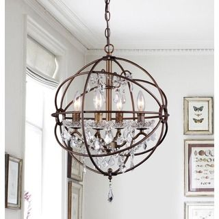 Foucault S Orb Crystal Iron 6 Light Chandelier Ping The Best