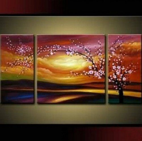 Plum Tree Blossom 100 Hand Painted Abstract Wall Canvas Art Sets Painting For Home Decoration