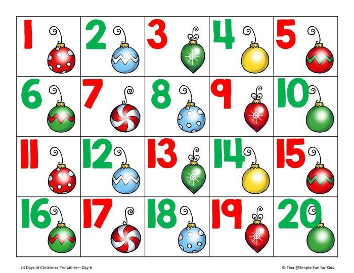 Christmas Countdown Day 6 Christmas Ornament Number Cards