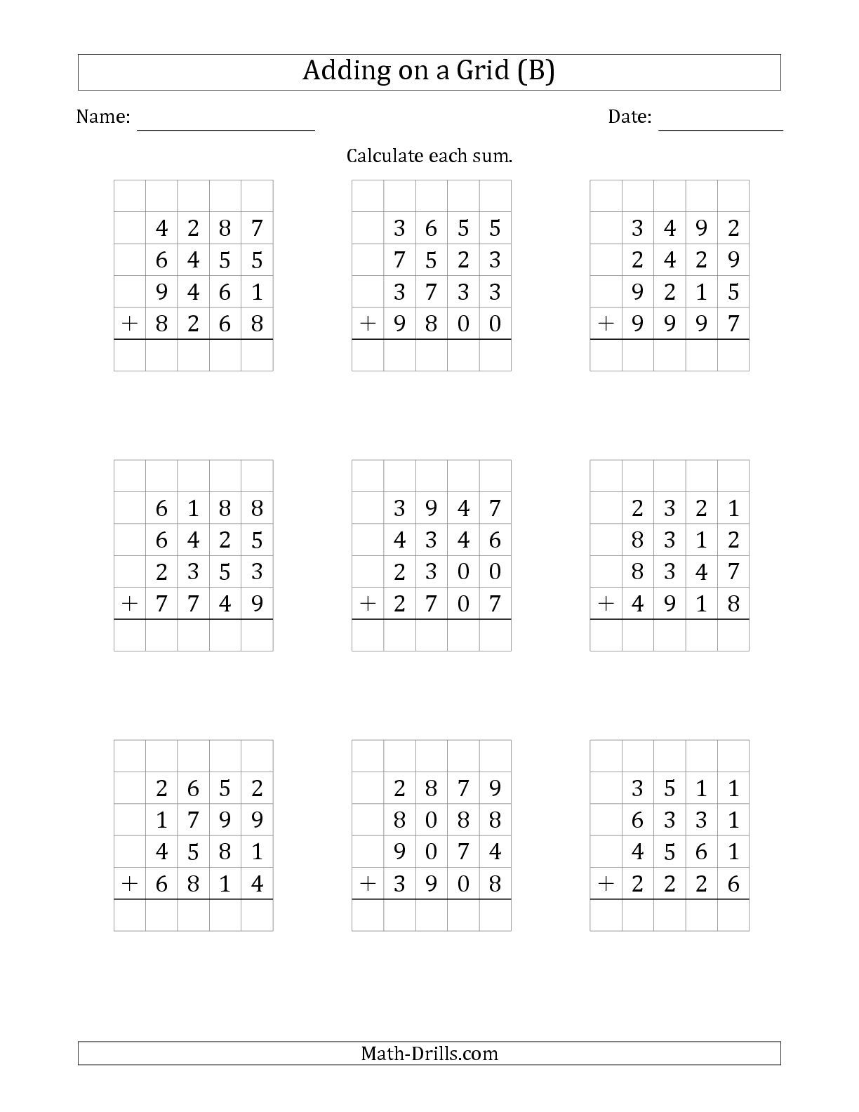 The Adding Four 4 Digit Numbers On A Grid B Math Worksheet From The Addition Worksheets Page