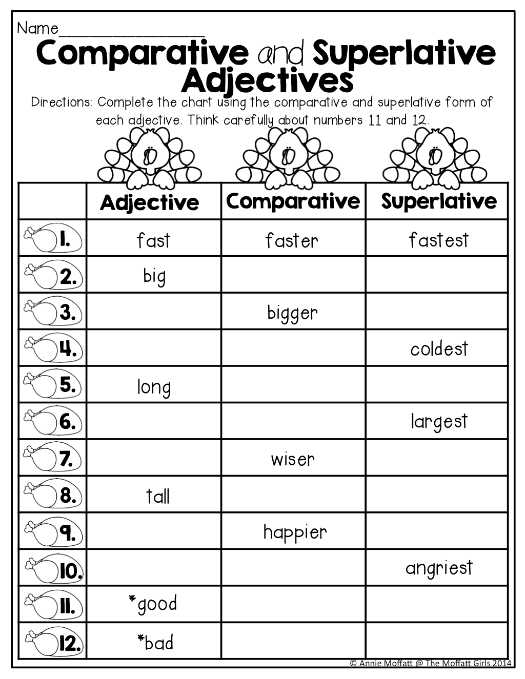 Comparative And Superlative Adjectives Tons Of Great Printables For 2nd Grade