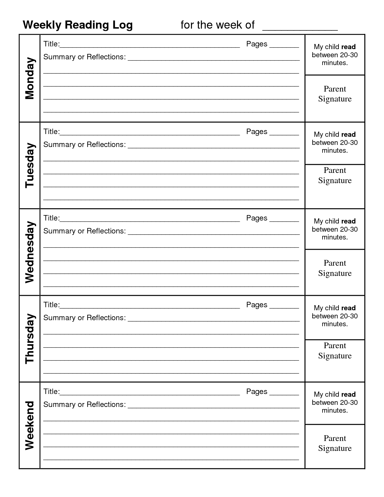 Weekly Reading Log With Summary