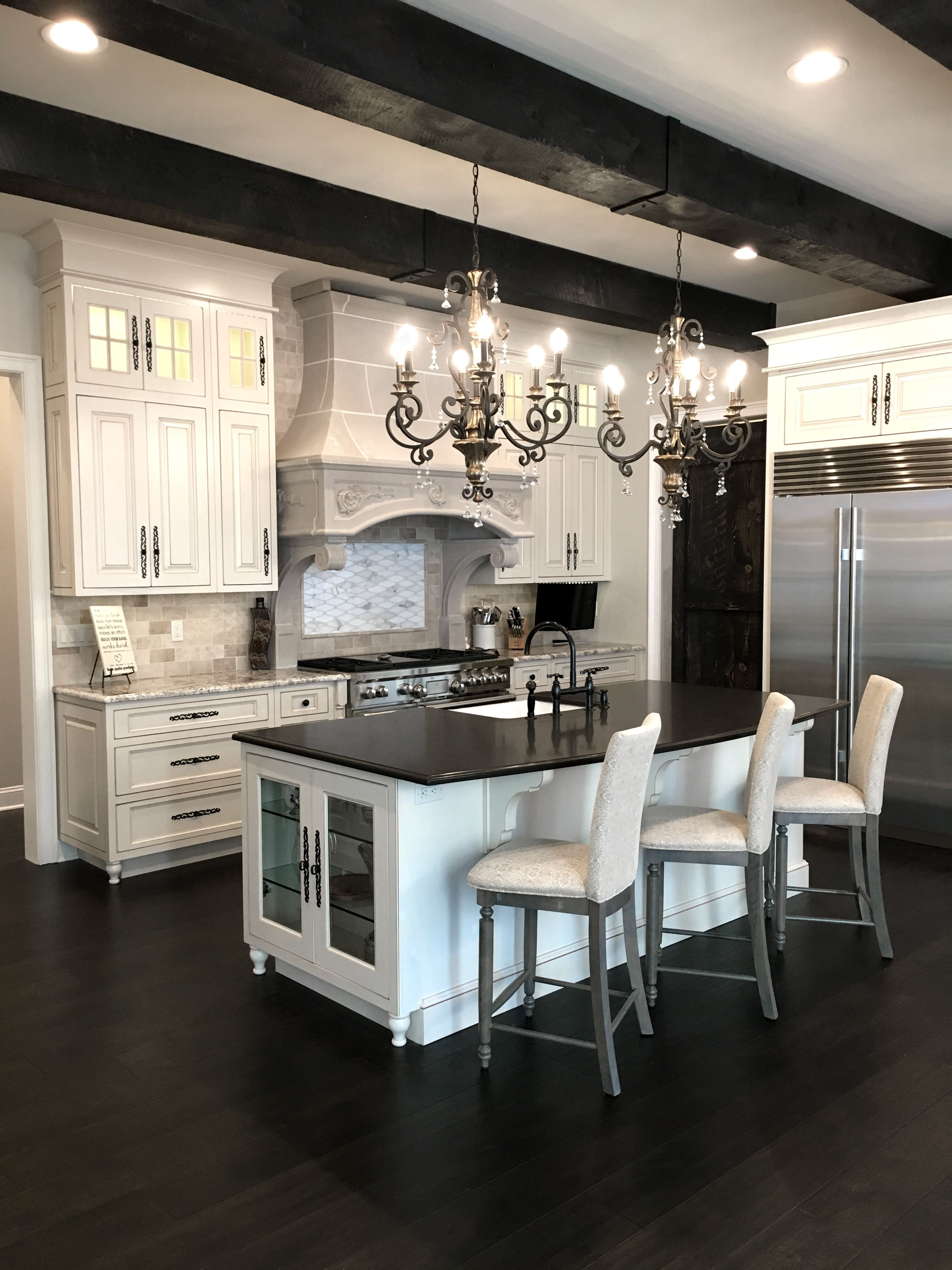 French Country Kitchen Wood Beam Ceiling Kitchen Island