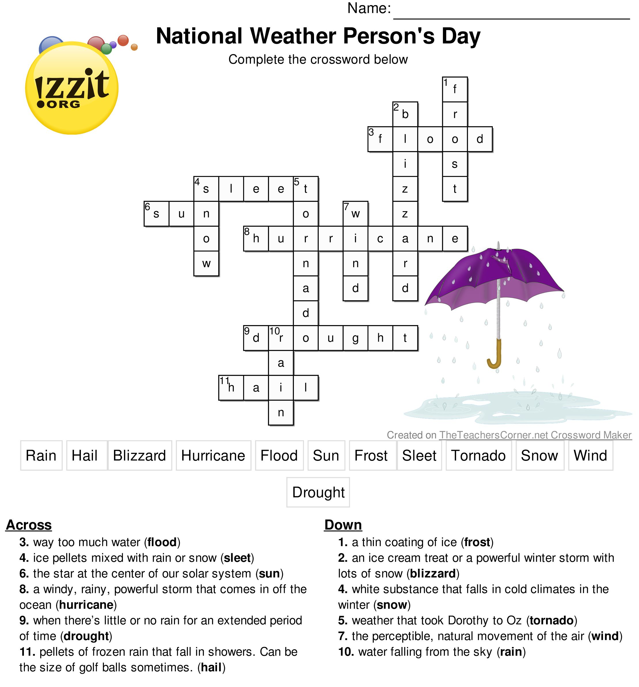 Here Is The Answer Key For The Printable Crossword Puzzle