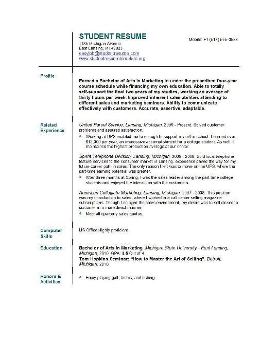 Free College Resume Template - Resume Sample