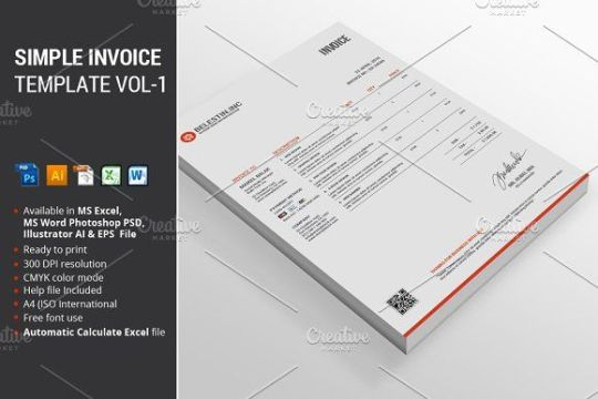 Simple Invoice Template Vol 1 by alimran24 on  creativemarket     Simple Invoice Template Vol 1 by alimran24 on  creativemarket