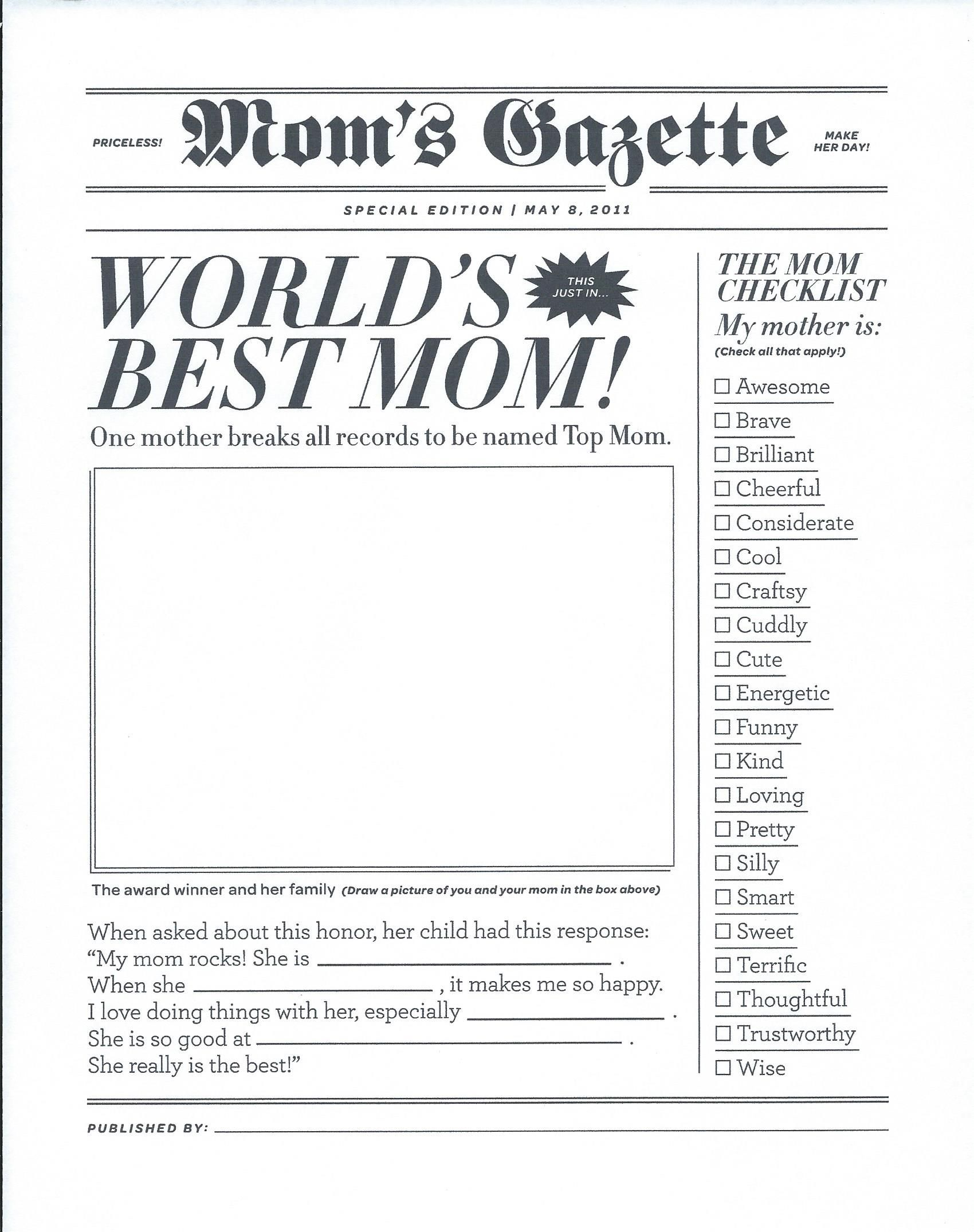 World S Best Mom Gazette Newspaper For Mother S Day