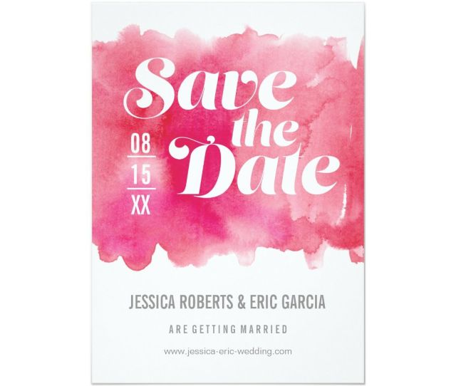 Watercolor Save The Date Card This Invitation Is Stylish And Modern With A Colorful Watercolor Splash Background In Hot Pink Personalize With Your Names
